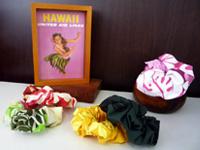 ハワイの生地を使った手作りシュシュ