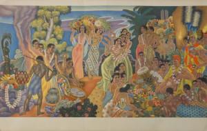 華やかな祭りの風景が優雅に描かれた『Island Feast』。 落ち着きのある色合いが秋にぴったりの一枚。